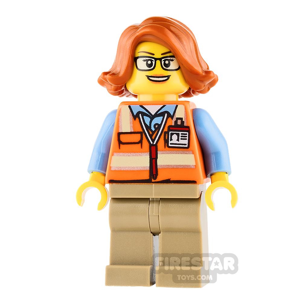LEGO City Mini Figure - Cargo Office Worker - Orange Safety Vest