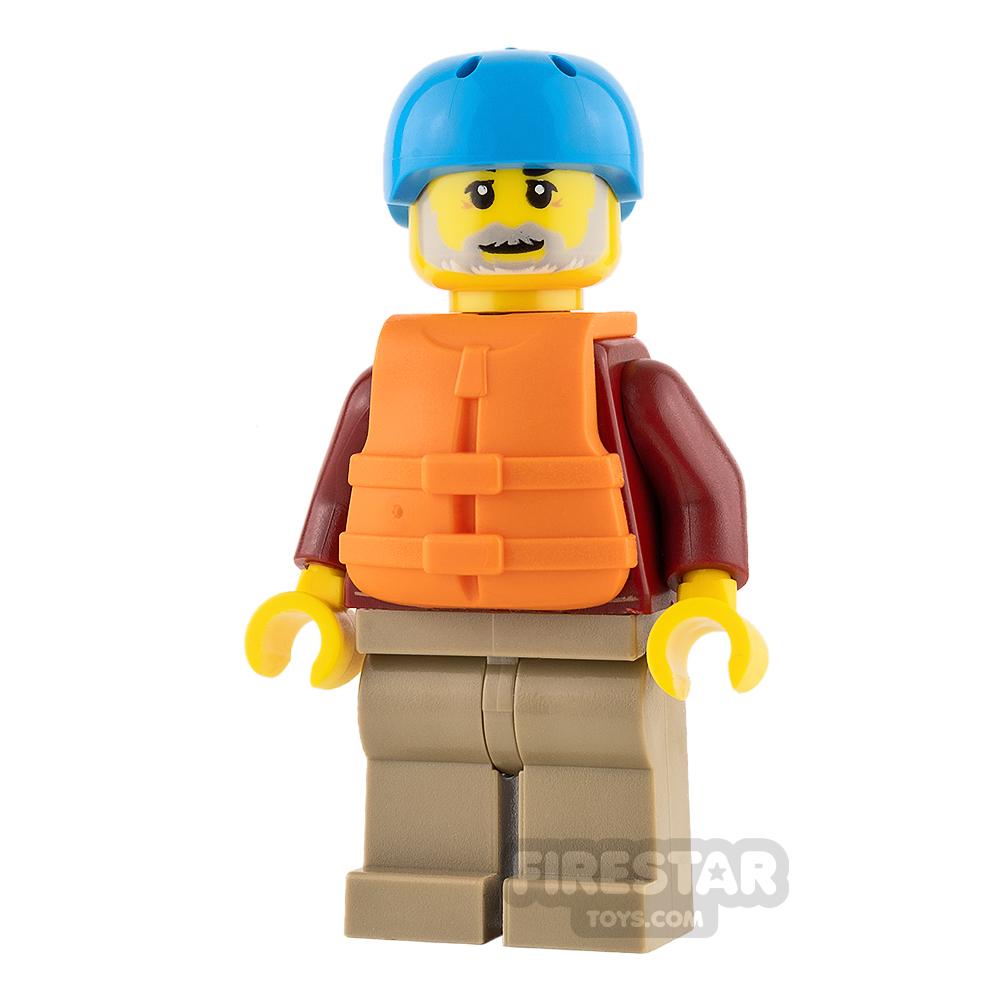 LEGO City Mini Figure - Dark Red Jacket and Gray Beard