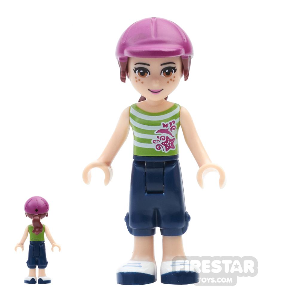 LEGO Friends Mini Figure - Mia - Striped Top and Helmet