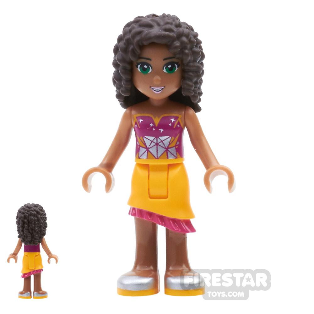 LEGO Friends Mini Figure - Andrea - Orange Skirt and Geometric Top