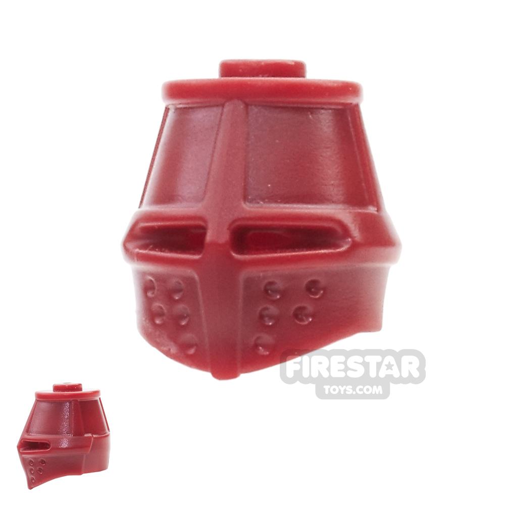 BrickWarriors - Great Helm - Dark Red