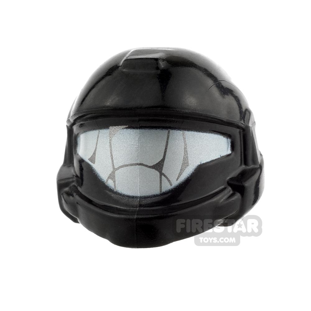 BrickForge - Shock Trooper Helmet - Black and Silver - Visor Detail