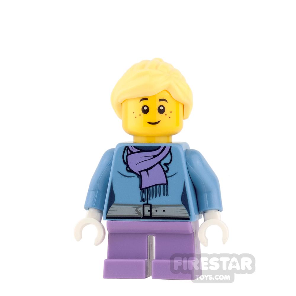 LEGO City Mini Figure - Purple scarf and Medium Lavender Short Legs