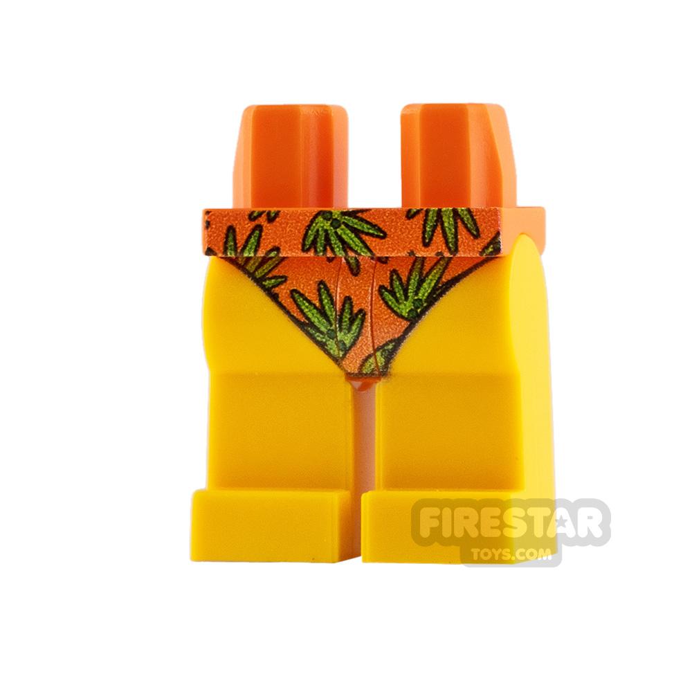 Custom Design Legs Bikini Bottoms Orange with Leaves