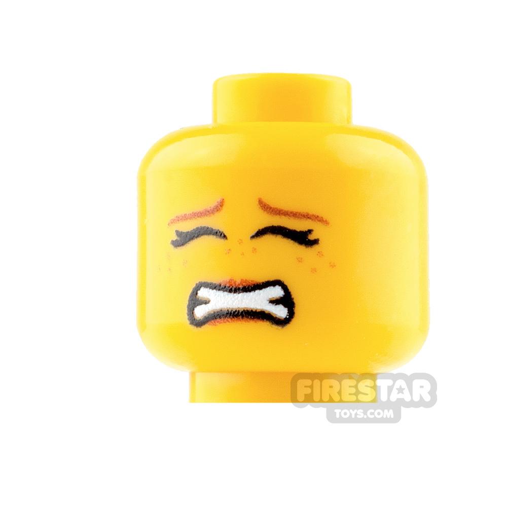 Custom Mini Figure Heads - Scared - Female - Yellow