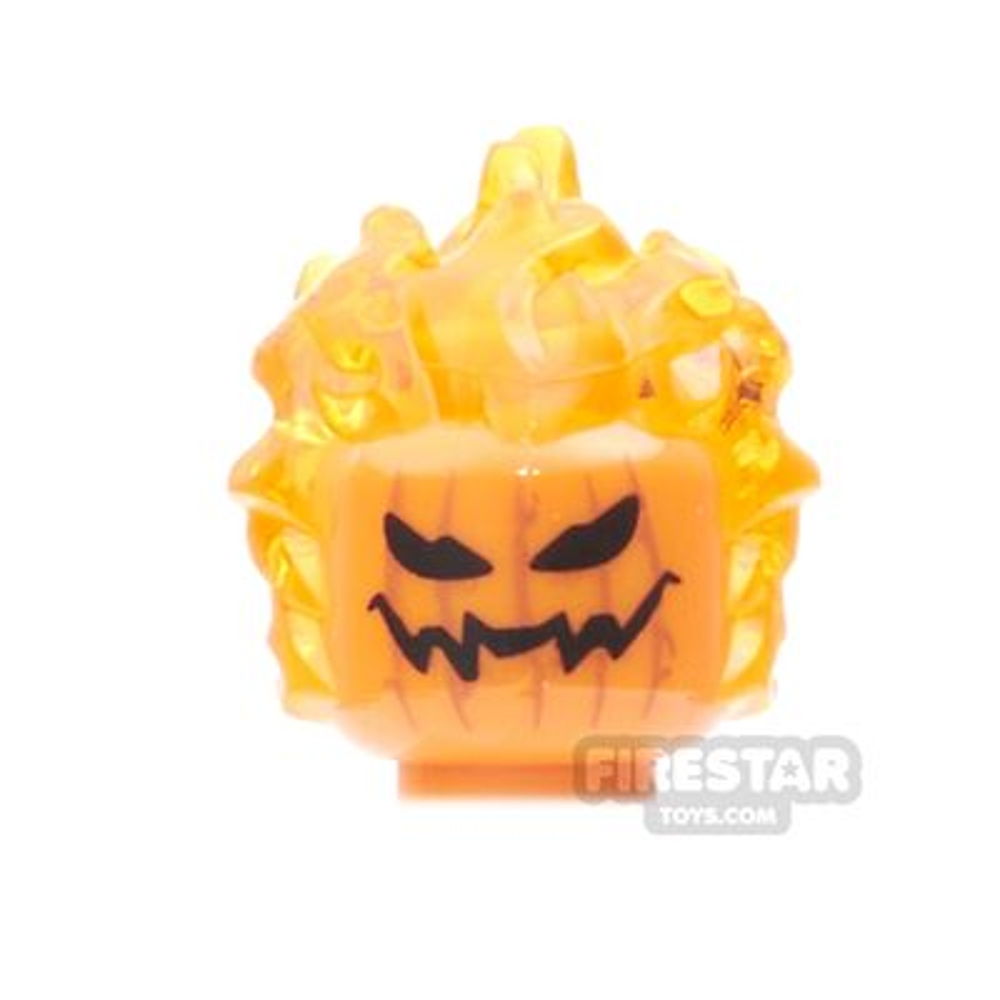 LEGO Mini Figure Heads - Flaming Pumpkin Head