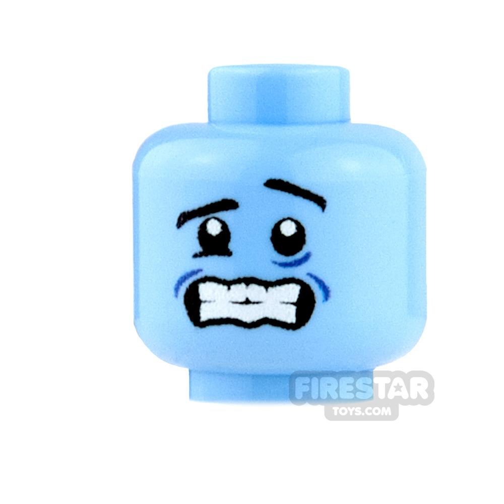 Custom Minifigure Heads - Shivering - Medium Blue