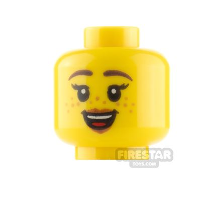LEGO Minifigure Heads Freckles Neutral and Open Smile