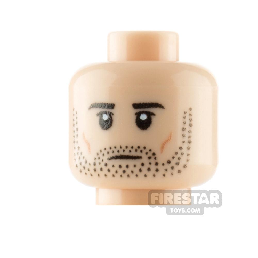 Custom Mini Figure Heads Stubble Serious and Angry