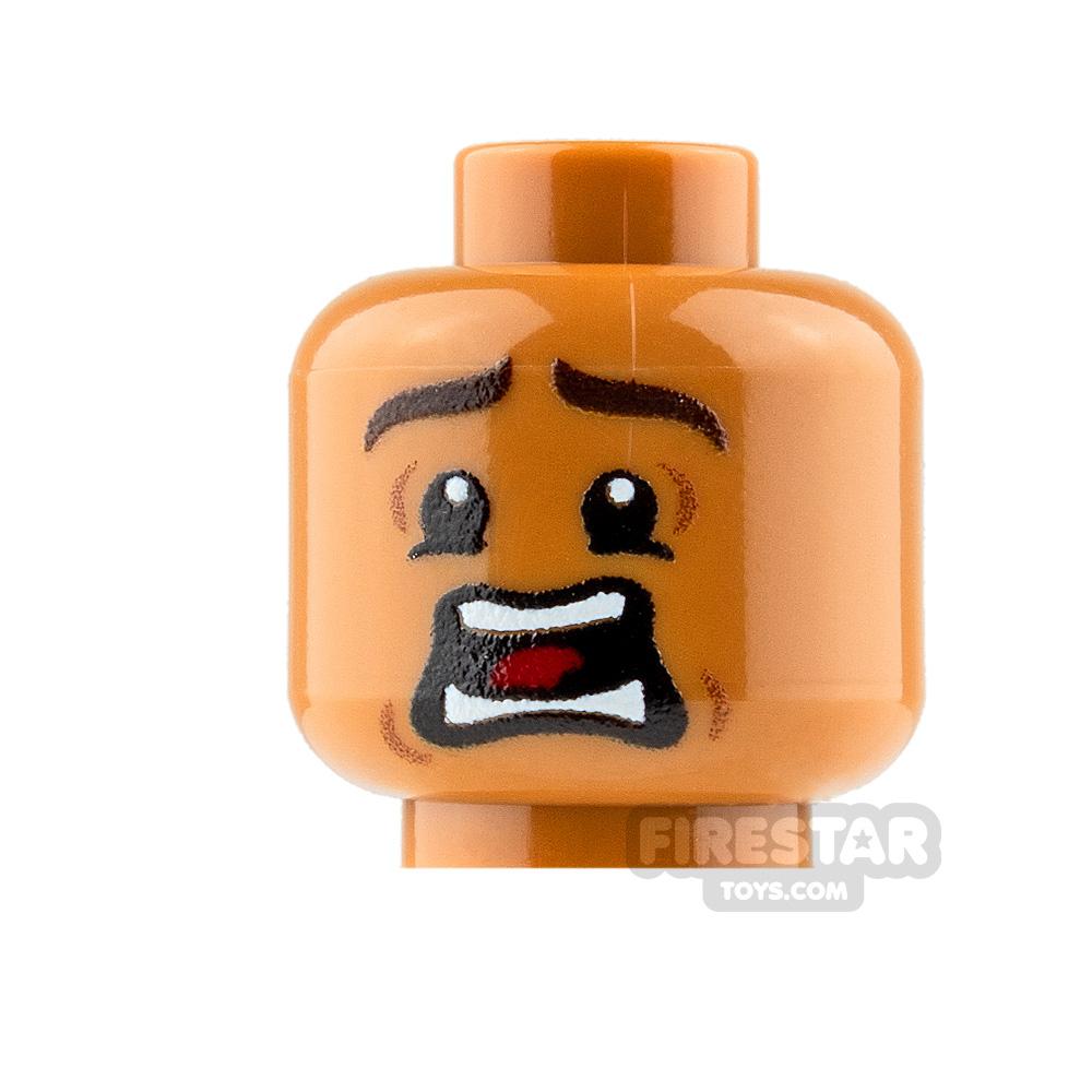 Custom Mini Figure Heads - Terrified - Male - Medium Dark Flesh