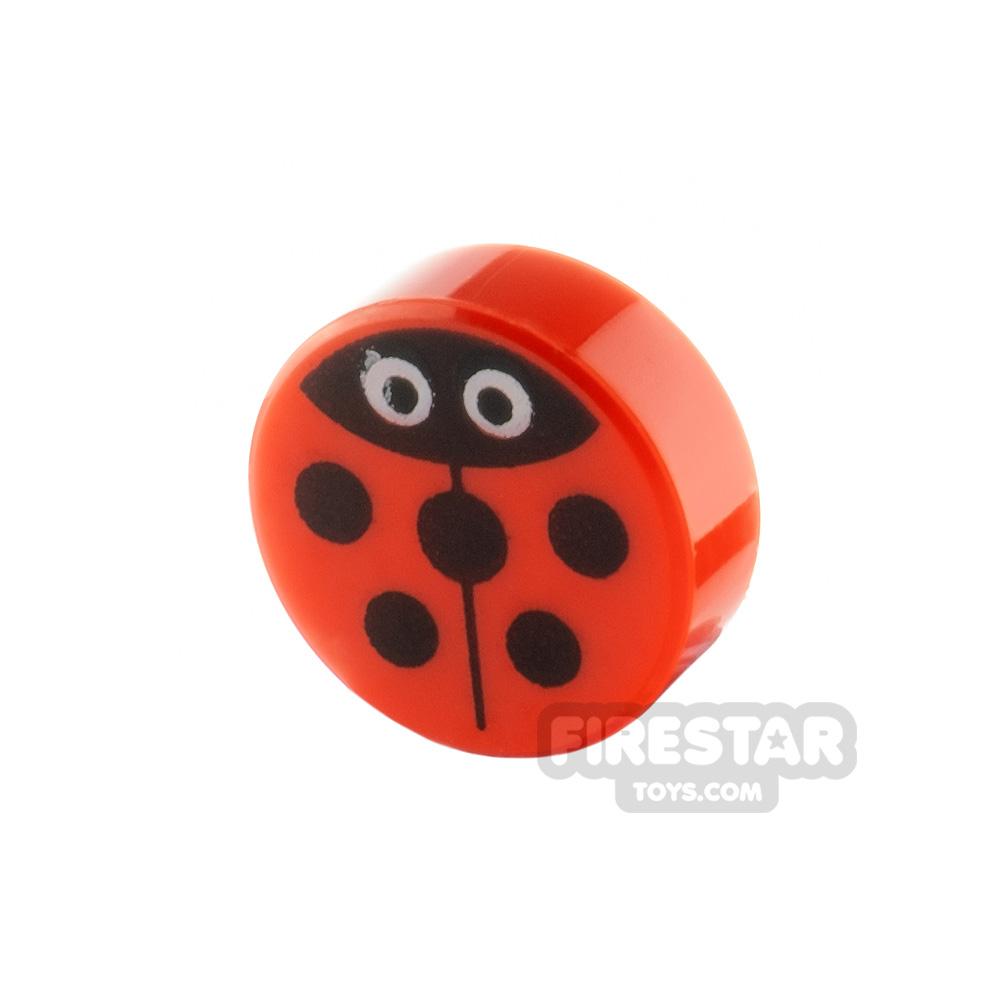 Printed Round Tile 1x1 Ladybug