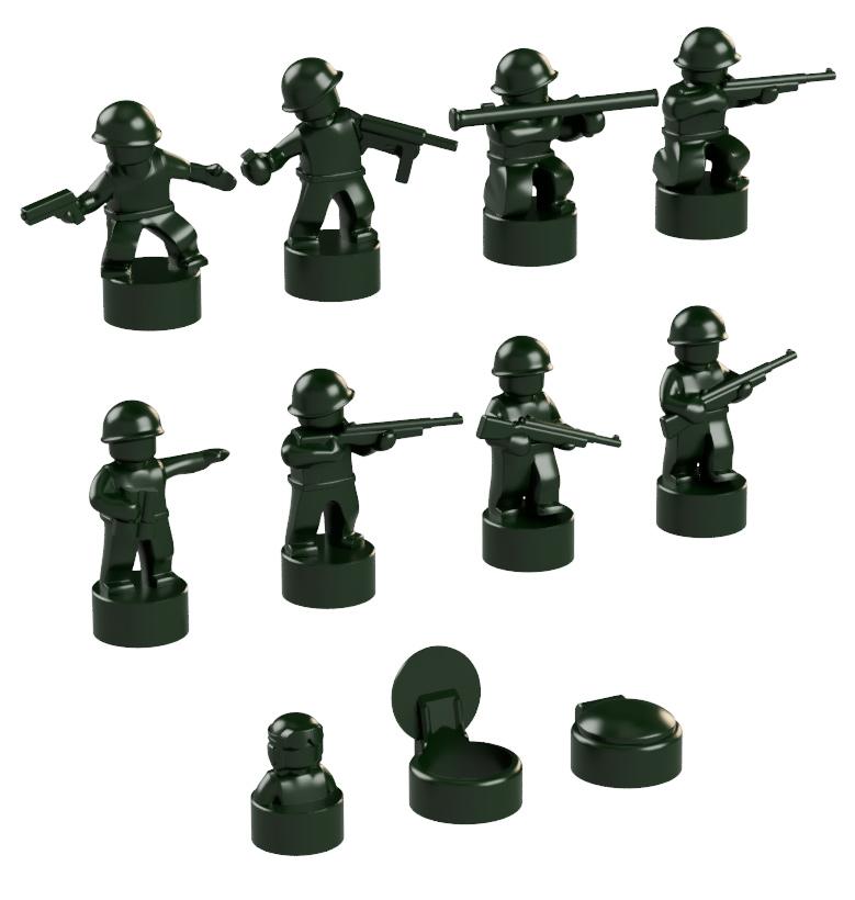 BrickMini Nano Soldiers - Dark Green Set