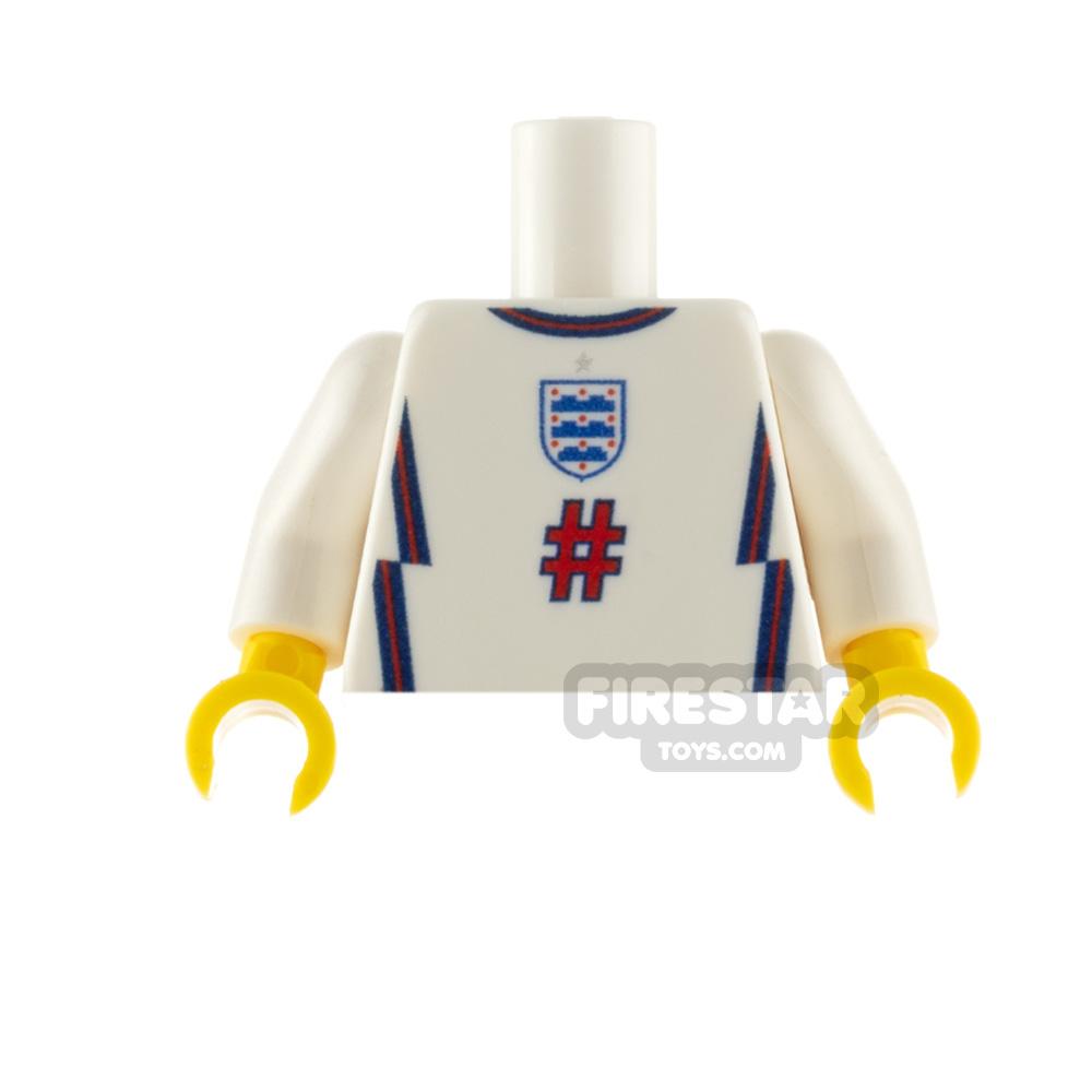Custom Design Minifigure Torso England Football Jersey