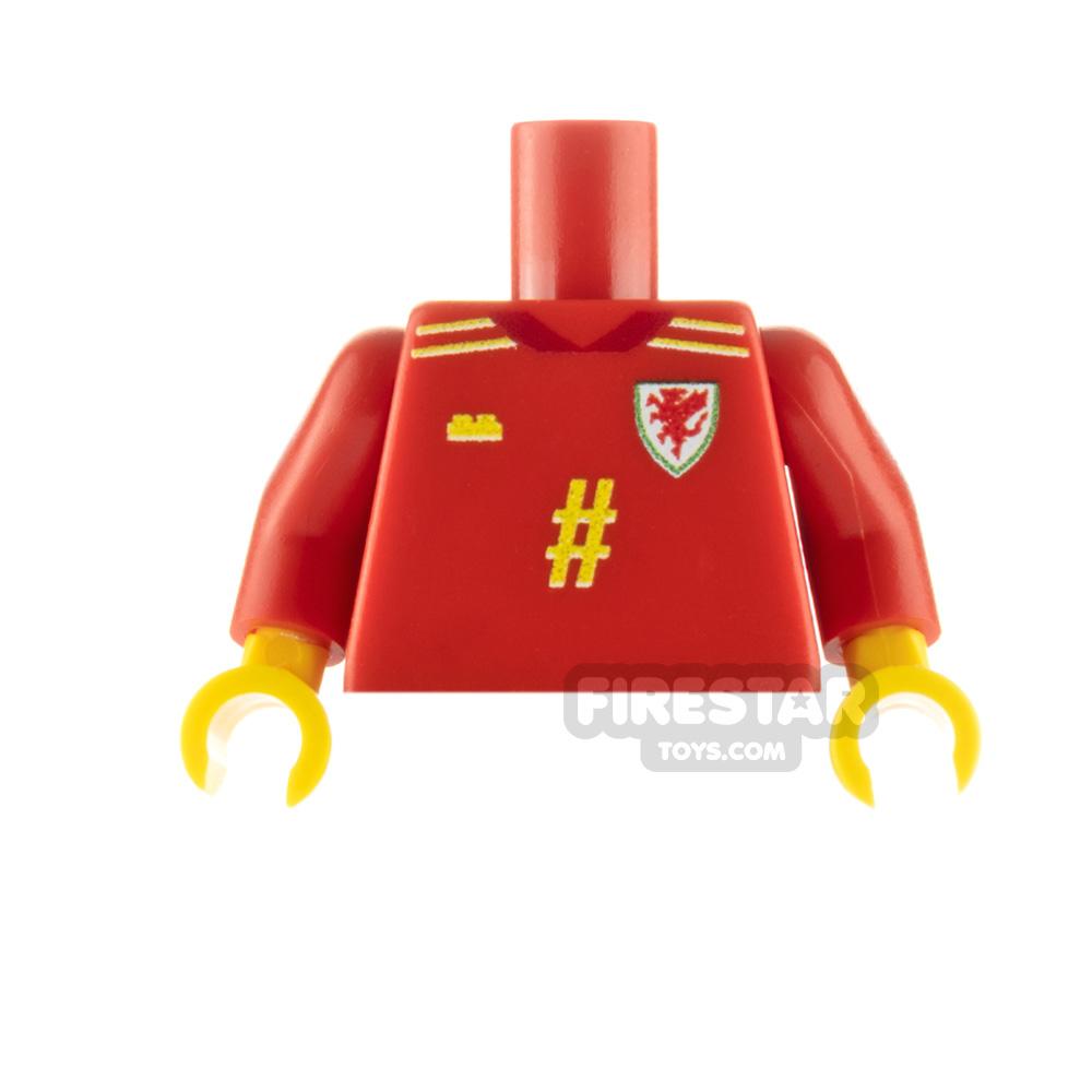 Custom Design Minifigure Torso Wales Football Jersey