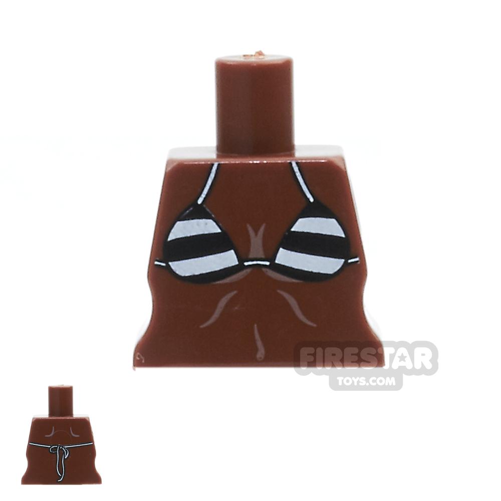 Arealight Mini Figure Torso - Black Stripe Bikini - Dark Flesh