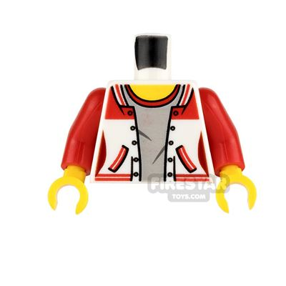 LEGO Mini Figure Torso - Sports Jacket over Gray Top