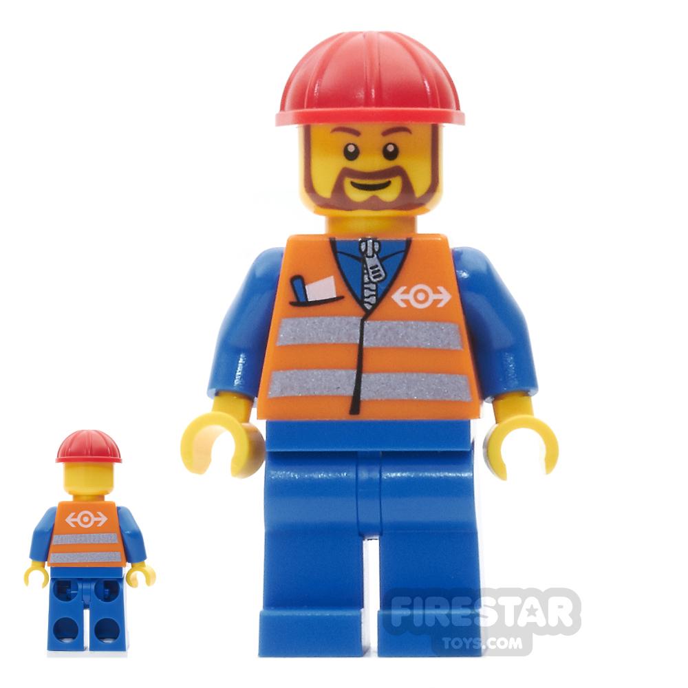 LEGO City Mini Figure - Orange Saftey Vest and Brown Beard