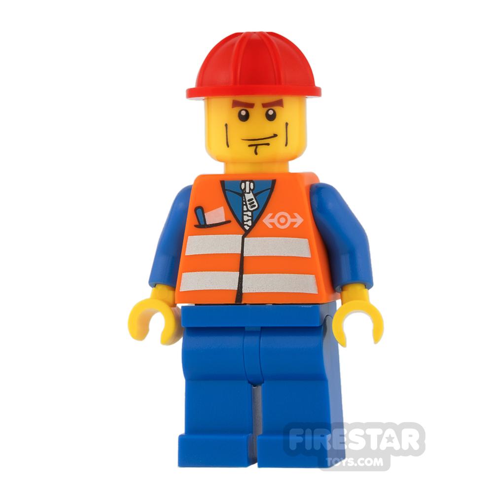 LEGO City Mini Figure - Orange Saftey Vest and Cheek Lines