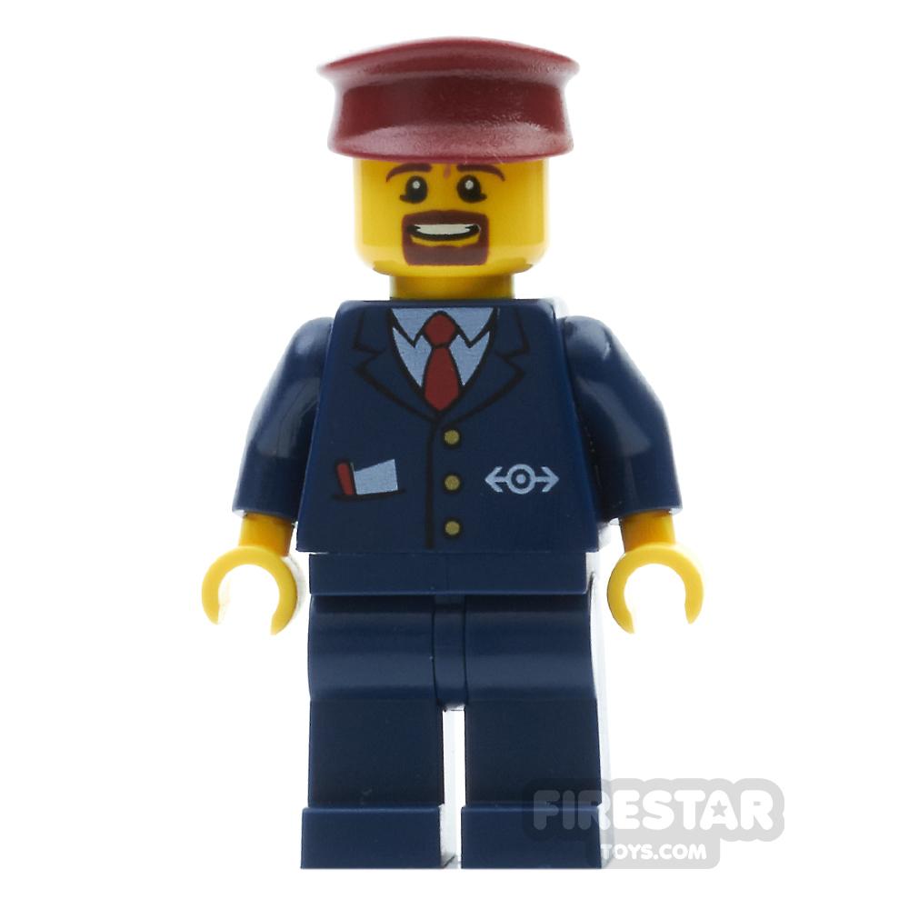 LEGO City Mini Figure - Train Guard Blue Suit
