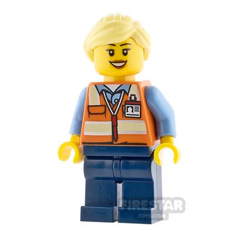 LEGO City Minifigure Female Safety Vest and Ponytail