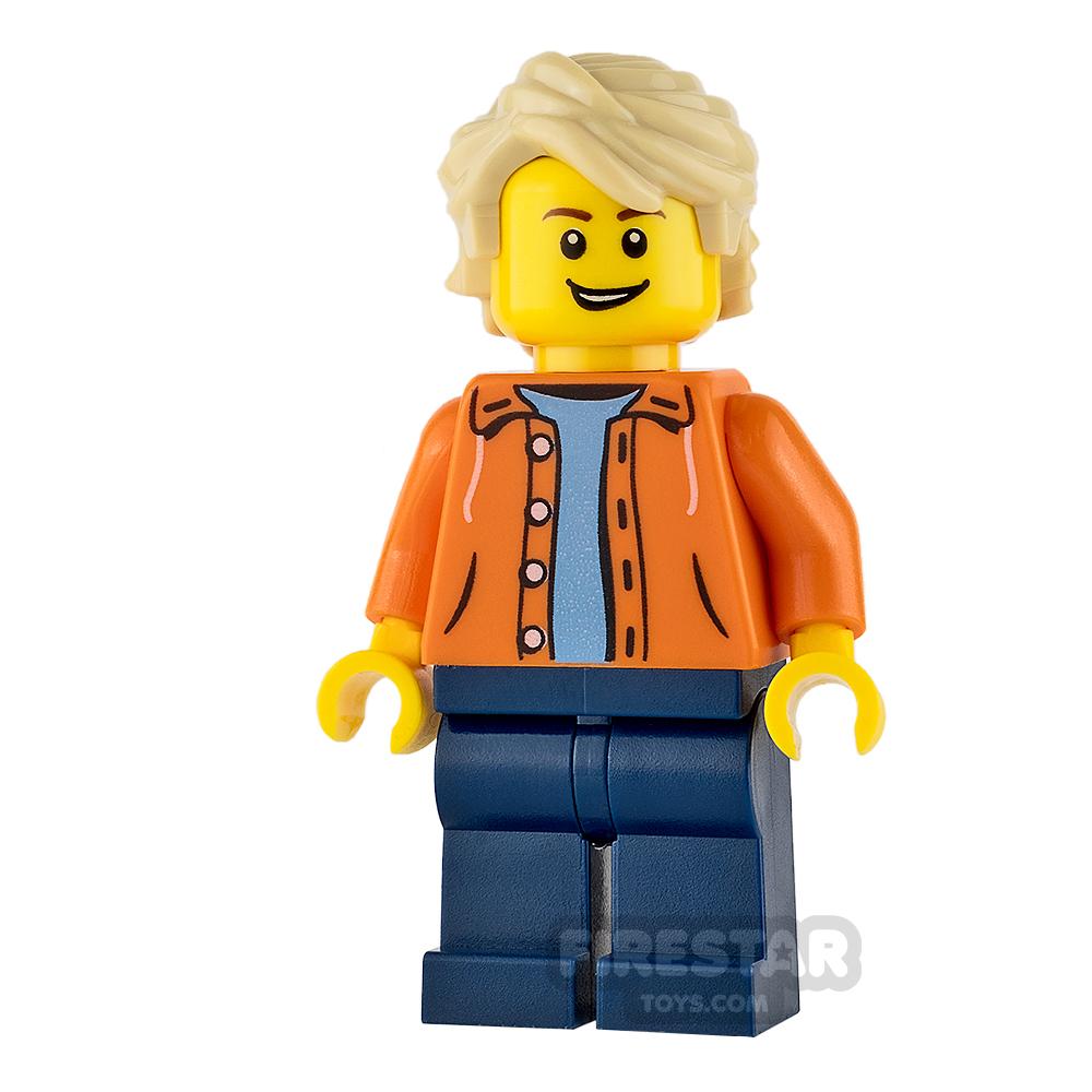 LEGO City Mini Figure - Orange Jacket with Tan Tousled Hair