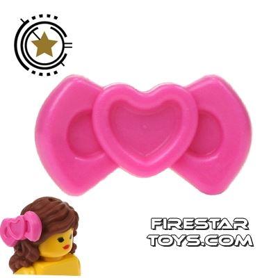 LEGO Hair Accessory - Heart Bow - Dark Pink