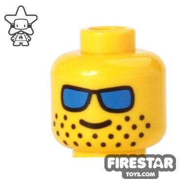 LEGO Mini Figure Heads - Blue Sunglasses - Stubble