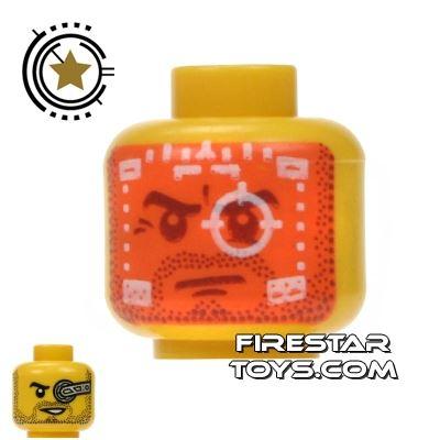 LEGO Mini Figure Heads - Orange Robot HUD