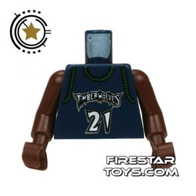 LEGO Mini Figure Torso - Minnesota Timberwolves 21