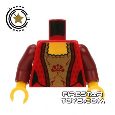LEGO Mini Figure Torso - Red and Gold Corset