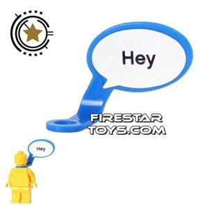 LEGO Speech Bubble - Smooth Edge - Left - Blue with Text