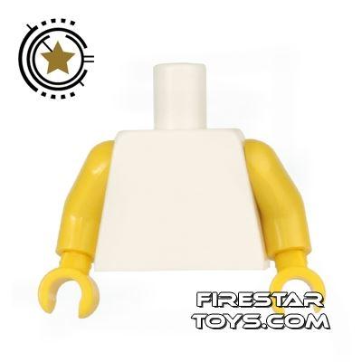 LEGO Mini Figure Torso - Plain White - Yellow Arms