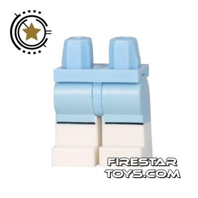 LEGO Mini Figure Legs - Ski Suit - White and Light Blue