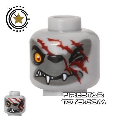 LEGO Mini Figure Heads - Wolf - Red Scars - Winzar