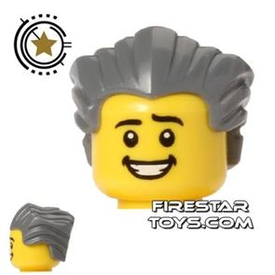 LEGO Hair - Slicked Back - Dark Blueish Gray