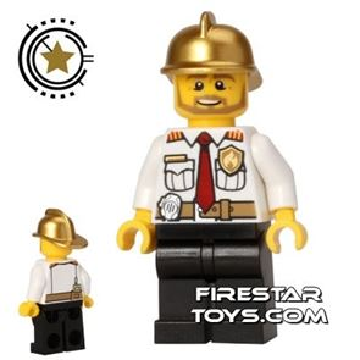 LEGO City Mini Figure - Fire Chief - Gold Helmet