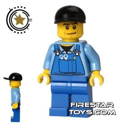 LEGO City Mini Figure - Blue Overalls - Black Cap