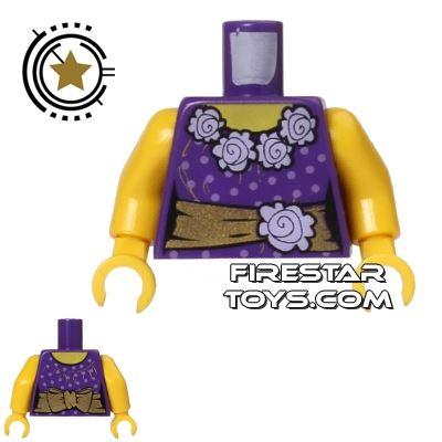 LEGO Mini Figure Torso - Purple with Gold Sash