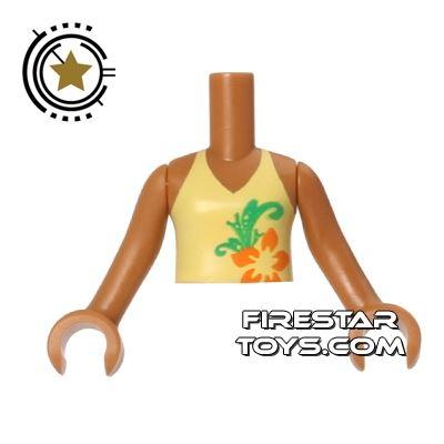 LEGO Friends Mini Figure Torso - Yellow Halter Neck Top - Flower Pattern