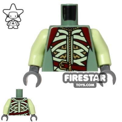 LEGO Mini Figure Torso - Green Straps and Gold Armour