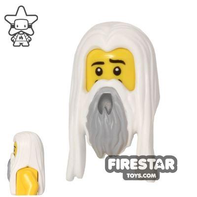 LEGO Hair - Long White Hair with Gray Beard