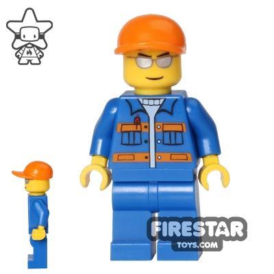 LEGO City Mini Figure - Blue Overalls - Silver Sunglasses