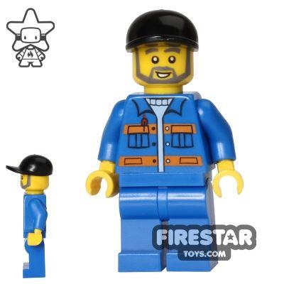 LEGO City Mini Figure - Blue Overalls - Gray Beard
