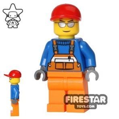 LEGO City Mini Figure - Orange Overallls - Silver Sunglasses