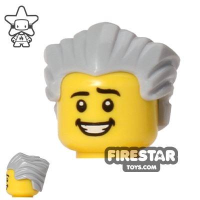 LEGO Hair - Slicked Back - Light Blueish Gray