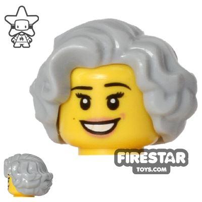 LEGO Hair - Short Waves - Light Blueish Gray