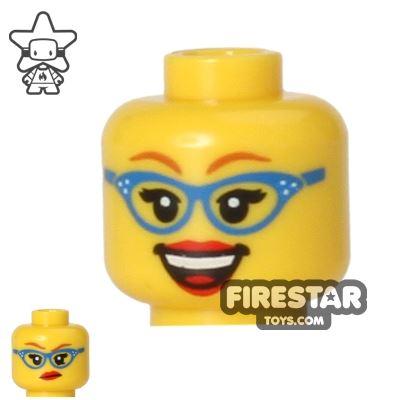 LEGO Mini Figure Heads - Blue Glasses - Big Smile