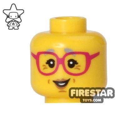 LEGO Mini Figure Heads - Grandma - Red Glasses
