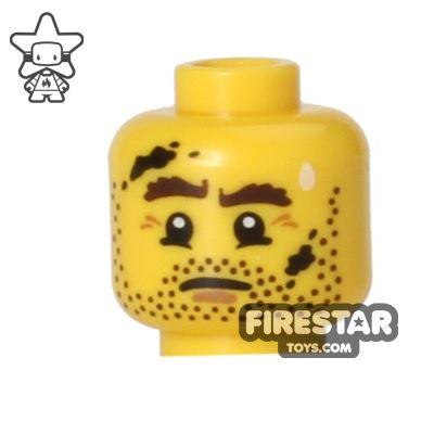 LEGO Mini Figure Heads - Stubble - Dirt Marks