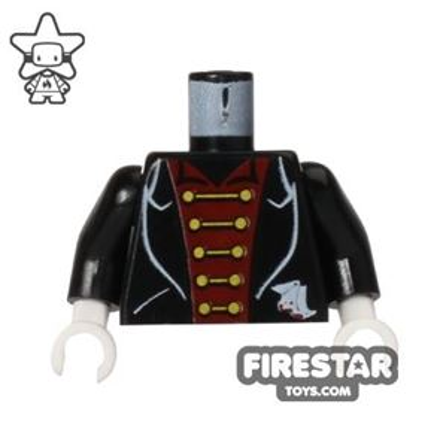LEGO Mini Figure Torso - Black Suit with Gold Clasps - Vampire